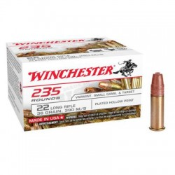WINCHESTER CALIBRE 22LR PLATED HOLLOW POINT 36 GRAINS 390M/S